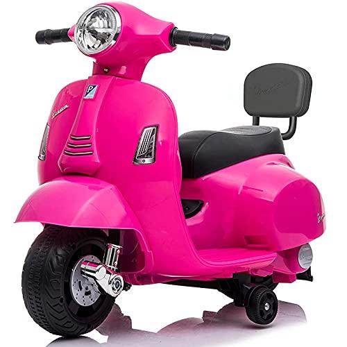 Farano Store - MOTO ELETTRICA PER BAMBINI MINI VESPA GTS PIAGGIO ROSA 6V CON SCHIENALE, LUCI E SUONI 00120016