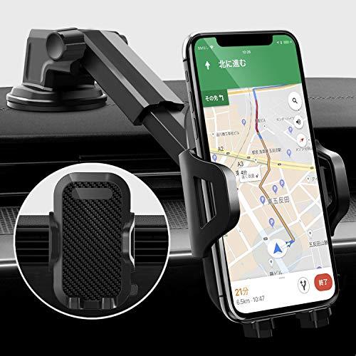 SOFER 車載ホルダー スマホスタンド 2in1 エアコン吹き出し口用 粘着ゲル吸盤 車 スマホホルダー 360度回転 伸縮アーム 片手操作 車載 携帯ホルダー ワンタッチ 手帳型ケース対応 縦 横 自由調節 取付簡単 7インチ以内機種対応 iPhone