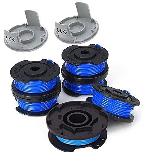 TURMIN Paquete de 8 bobinas de desbrozadora para línea de recortadora Ryobi, 1,65 mm (0,065 pulgadas), carretes de repuesto para cortacésped Ryobi One+ AC14RL3A, 6 carretes + 2 tapas