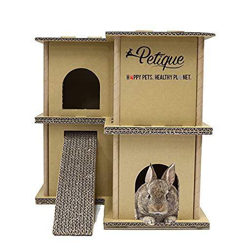 Petique ペティーク ルプティハウス ダンボール 猫 ネコ ねこ 小動物 うさぎ チンチラ モルモット フェレット シマリス ハリネズミ ダンボール ダンボールハウス 小動物用おもちゃハウス 組立簡単
