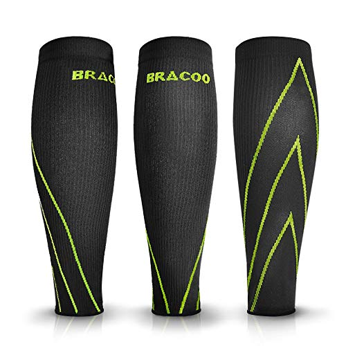 Bracoo Compression Shin Splints Leg Sleeves - Men, Women, Cycling, Running, Basketball, Strength Training, Nursing, Maternity and Various Sporting Activities, LE70, Yellow Accent, Medium(2 Pack)