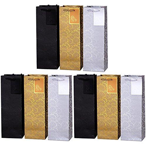 Set van 9 cadeautasjes gouden zilveren zwarte flessentasjes voor wijn en ook voor mousserende wijn of champagne 36x12x10 cm