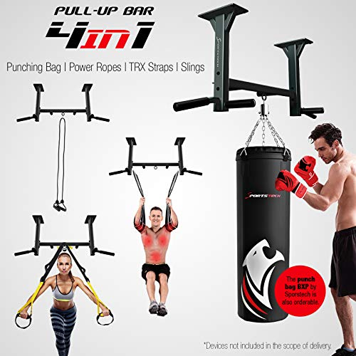 Sportstech-4in1-KS400-ceiling-mounted-pull-up-bar-3-eyelets-for-TRX-punching-bag-6-non-slip-handles-extremely-stable-countless-pull-up-exercises-incl-eBook-8-heavy-duty-dowels-for-mounting