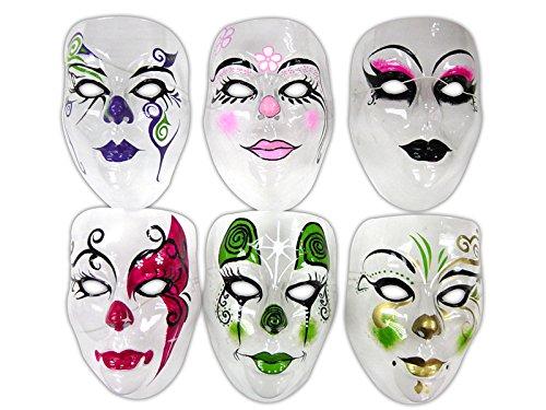 Smiffy's - Masque transparent visage adulte decore 6 ass 17.5x13.5cm