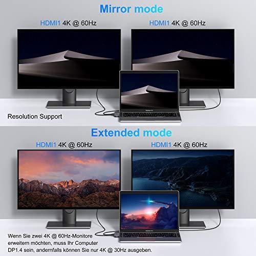 MOKiN USB C Dual HDMI Adapter für MacBook Pro 2020/2019/2018, MacBook Air 2020/2019/2018, 8 in 2 USB C Multiport Adapter mit Dual 4k@60Hz HDMI, 100W PD, Gigabit Ethernet, 2 USB 3.0, SD/TF Kartenleser