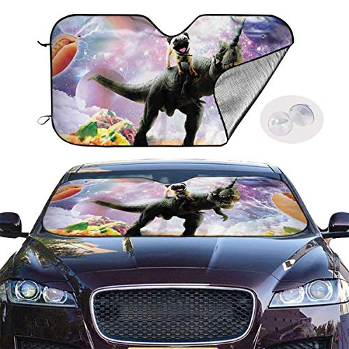Barro amasado del espacio Riding dinosaurio unicornio Taco de coches Sun cortina...