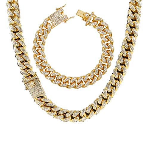 Men's 12MM 14MM 20MM Chains 18K Gold Plated CZ Fully Iced-Out Miami Cuban Necklace Bracelet Set