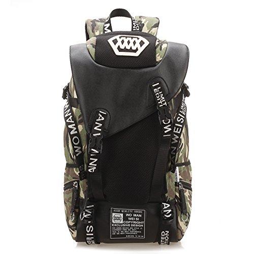Mataga Camping Sac à dos de randonnée Camouflage Homme Femme Sac à dos de voyage léger, Camouflage+Data line+Chest bag