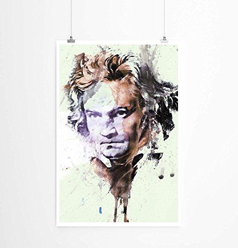 Paul Sinus Art Ludwig Van Beethoven I 90x60cm auf Masterclass Metallic Pearl High Gloss Photo Paper