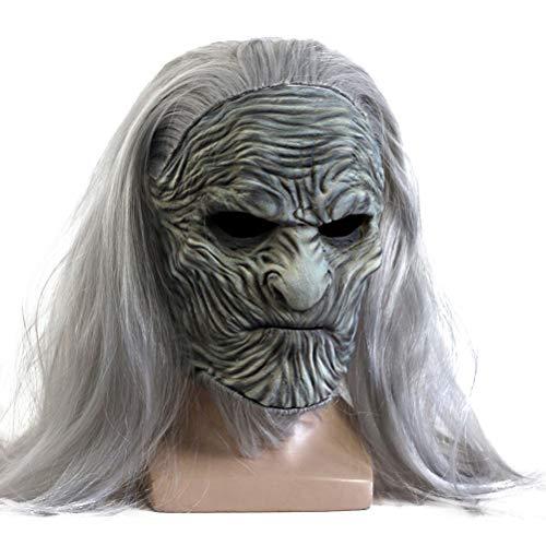 AYily Máscara de Halloween Halloween Cosplay Máscara assustadora Night King Zumbi Máscara de látex com peruca, acessório para fantasia de festa de Halloween, cinza