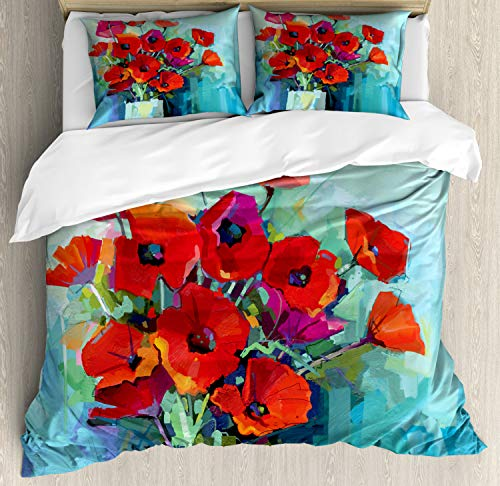 Ambesonne Impressionist Duvet Cover Set King Size, Artistic Floral Painting with Colorful Bouquet of Poppy Flowers in Vase, Decorative 3 Piece Bedding Set with 2 Pillow Shams, Multicolor