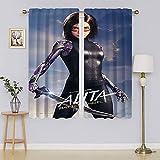 lacencn Alita Battle Angel - Paneles de cortina para ventana, lavable a máquina, para dormitorio, sala de estar, 55 x 72 cm