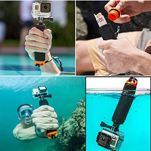 LOTOPOP Waterproof Floating Hand Grip for Gopro Hero 5 3+ 4 Session 3 - Handle Mount Accessories and Water Sport Pole for GeekPro 3.0 and ASX Action Pro Cameras Action Camera Accessories-Maroon