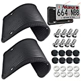 2 Pack Silicone License Plate Frames - Black License Plate Holder, Car Front & Rear License Plate Frame Tag Cover, Rust-Proof, Rattle-Proof, Weather-Proof with Stainless Steel License Screws, Caps