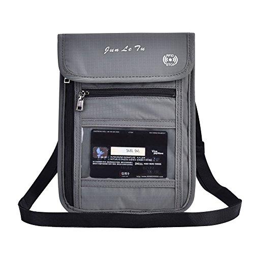 Asixx Porta-passaporte, porta-passaporte, capa de passaporte de viagem multifuncional, cinza, bolsa protetora para pescoço, carteira para identidade, bolsa de nylon à prova d'água para cartão ou passaporte