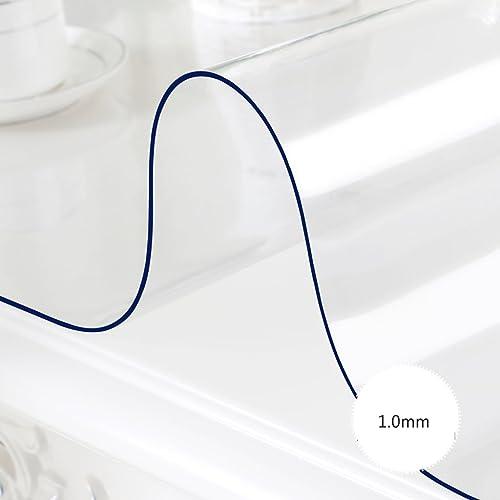 %tablecloth Rechteck PVC Tischdecke, transparente Weiße wasserdichte Esstisch Tischdecke Kunststoff Tisch Matten Kristallplatte Öl-proof Kaffee Mats ( Farbe   Transparent 1.0mm , Größe   90160cm )