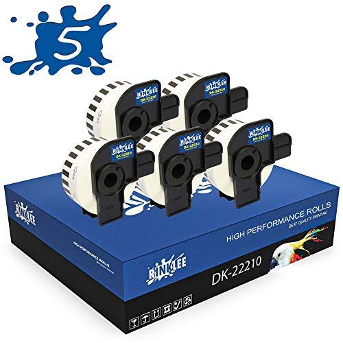 RINKLEE DK-22210 Endlos-Etiketten kompatibel für Brother P-Touch QL-500 QL-550 QL-560 QL-570 QL-700 QL-710W QL-720NW QL-800 QL-810W QL-820NWB QL-1060N QL-1100 QL-1110NWB | 29 mm x 30.48 m | 5 Rollen