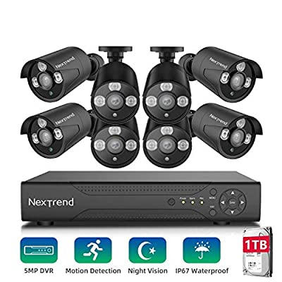 Security Camera System,NexTrend Wired Home Surveillance Cameras System 8CH 5MP DVR with 8 Full HD Indoor Outdoor Weatherproof CCTV Cameras 1TB Hard Drive Motion Alert Night Vision Remote Monitor