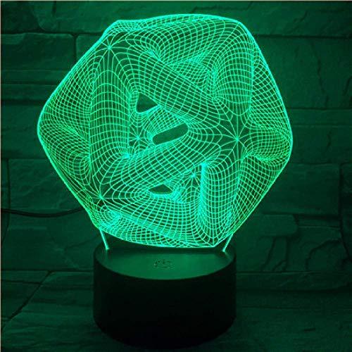 3D ilusión luz LED noche abstracto cuadrado control remoto táctil 7 color visión bombilla dormitorio escritorio decoración del hogar