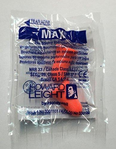 Howard Leight Max (extremo), 25 pares, empaquetados por pares, color naranja, protección auditiva, tapones para los oídos, tapones para los oídos