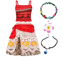 AmzBarley Girls Moana Costume Birthday Party Fancy Dress up Childs Kids Adventure Outfit Clothing Set Halloween Holiday Cosplay T Shirt Skirt Clothes