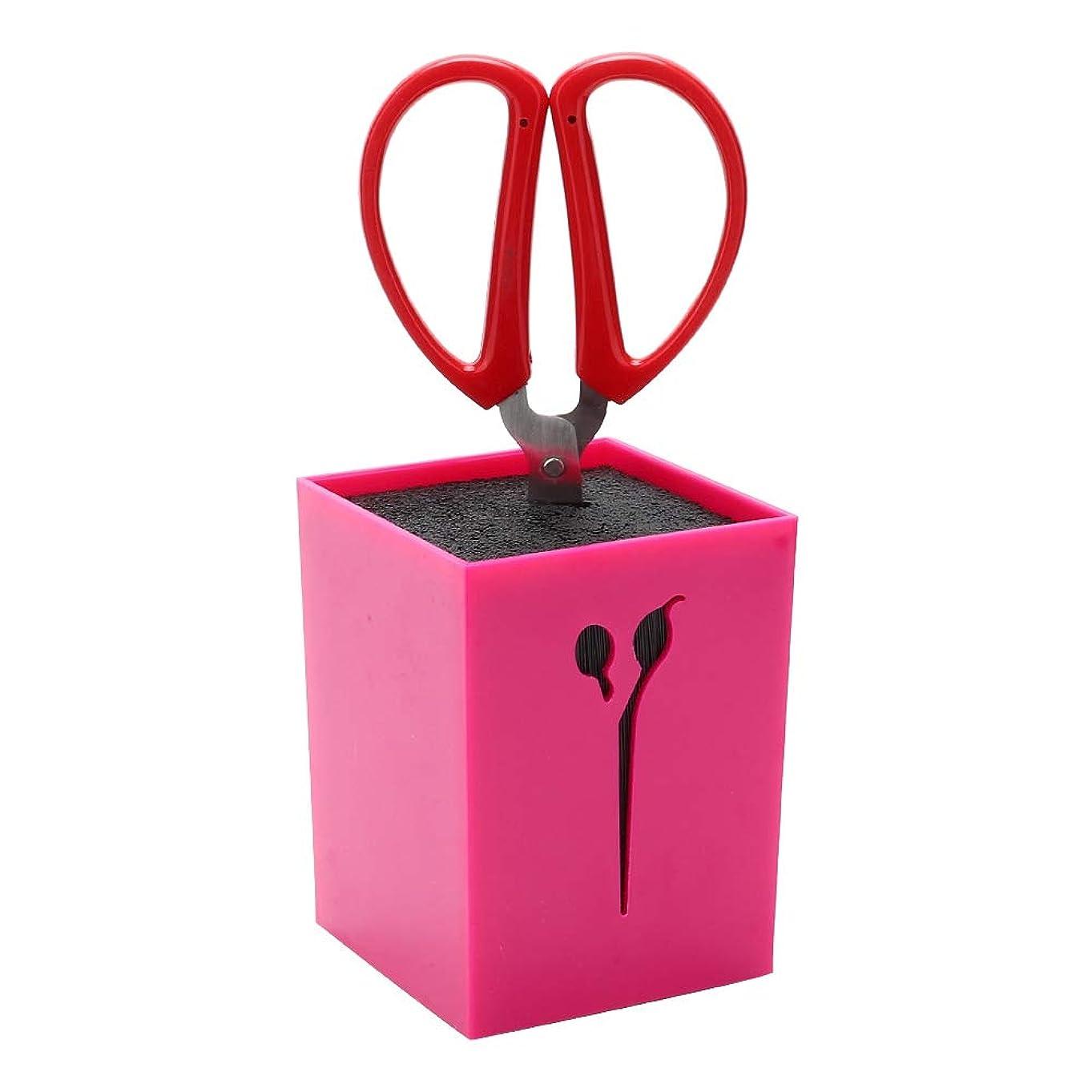 かすかなオゾン菊プロのサロンはさみホルダーラック、ヘアスタイリストオフィスホーム用シザー収納ボックス、理髪理髪櫛クランプ(赤いバラ)