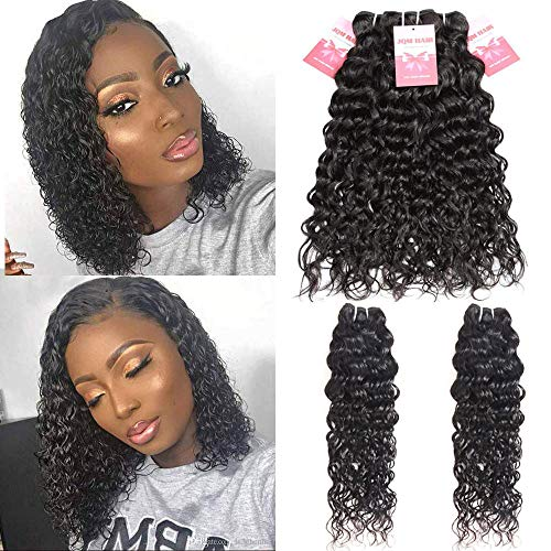 Premium Brazilian Water Wave Bundles With Closure Wet and Wavy Short Curly Bob Human Hair Bundles With Closure Free Part (10/10/10/10+8 Inch)