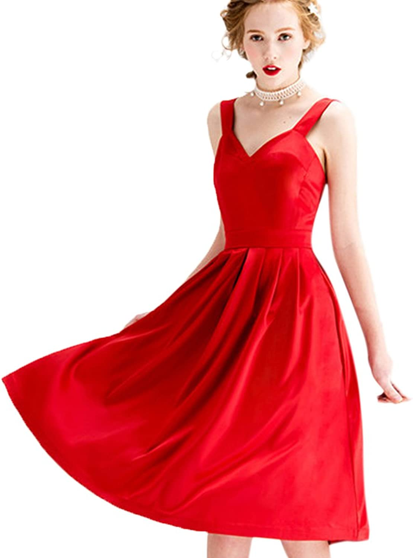 JoyVany Satin V Neck Shoulder Straps Sexy Open Back Party Evening Prom Dresses