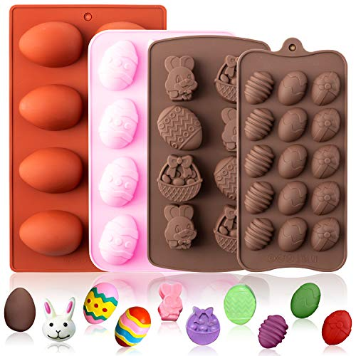 GROBRO7 Pack of 4 Silicone Easter Egg Bunny Chocolate Easter Day Molds Rabbit Tray for Baking Chocolate Cookies Ice Cream Jelly Candy Fondant Soap Birthday Theme Party Cupcake Cake Decor