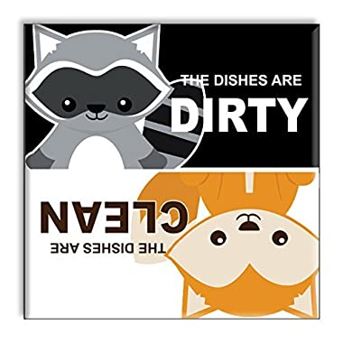 Clean Dirty Dishwasher Magnet Sign Indicator - Funny Cute Raccoon and Fox Woodland Animals Home Gift