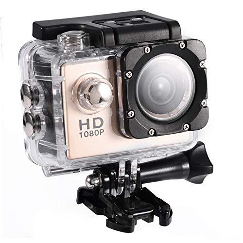 Yosoo Health Gear Videocamera Sportiva, videocamera Impermeabile Subacquea da 30 m, videocamera HD DV con Angolo di 90 Gradi con Kit di Accessori di Montaggio(Oro)
