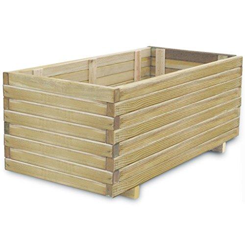 Pot de jardin en bois rectangulaire, 100 x 50 x 40 cm