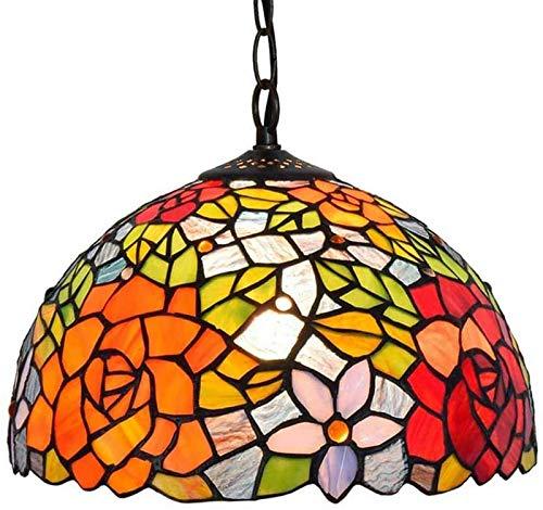 LEIKAS Lámpara Colgante Estilo Tiffany, Pantalla de vidriera rústica Pastoral de 12 Pulgadas, Accesorio de iluminación Vintage E27 para Escalera de Isla de Cocina