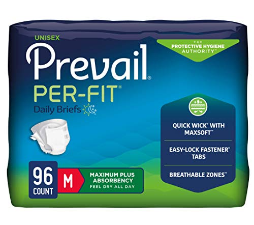 Prevail Per-Fit Maximum Absorbency Incontinence Briefs, Medium, 96 Count