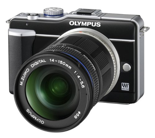 Olympus PEN E-PL1 Systemkamera (13 Megapixel, 6,9 cm (2,7 Zoll) Bildschirm, Bildstabilisator) schwarz mit 14-150mm Objektiv schwarz