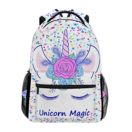 ZOEO Unicorn Backpack for Girls Backpacks Cream Pink Unicorn Magic 3th 4th 5th Grade School Bags Bookbags for Teen Kids Travel Laptop Daypack Bag Purse