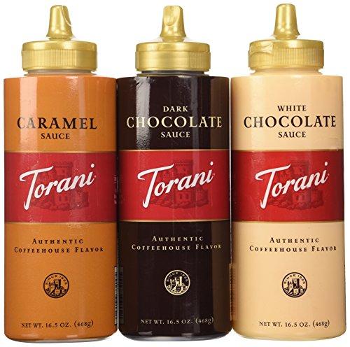 Torani Sauce 3 Pack Chocolate, Caramel, White Chocolate 16.5 Oz with New Packaging