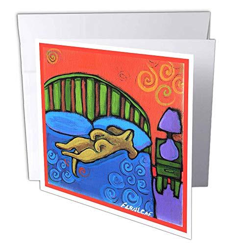 3D Rose GC 33986 1 4 huizen met hond schattige Pets dieren origineel Folk Art schilderijen - wenskaarten, 15,2 x 15,2 cm set van 6