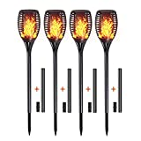Solar Torch Lights, Outdoor LED Lamp Flickering with Realistic Dancing Flame, Dusk-Dawn Christmas Decoration Lights for Garden/Patio/Deck/Driveway 4-PACK