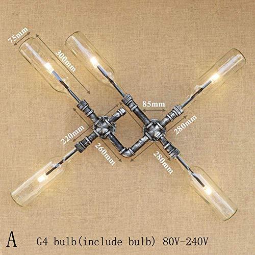 Meixian Wandlamp, industriële Iluminacion, gelijmde wandlamp voor hoofdglazen scherm, loft sluiting, peer-wandlamp, G4 voor badkamer, slaapkamer, restaurant, B een eenvoudig retro