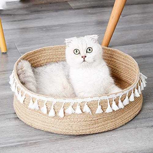 Redcolourful Nordic Cat Nest Natürliche Fransen Geflochtene Haustierhaus Schlafklaue Schleifen Rundbett braun 38 * 38 * 12cm Schön und langlebig