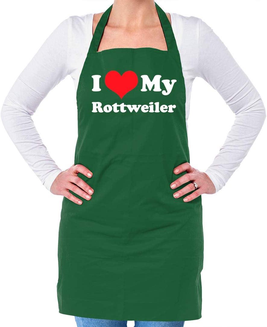 Unisex Adult Kitchen//BBQ Apron Dressdown I Love My Rottweiler Black One Size