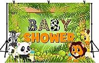 HD 7x5ftかわいい動物のテーマの背景ライオンゼブラパンダグリーンシリーズベビーシャワーの装飾的な背景LYLS823