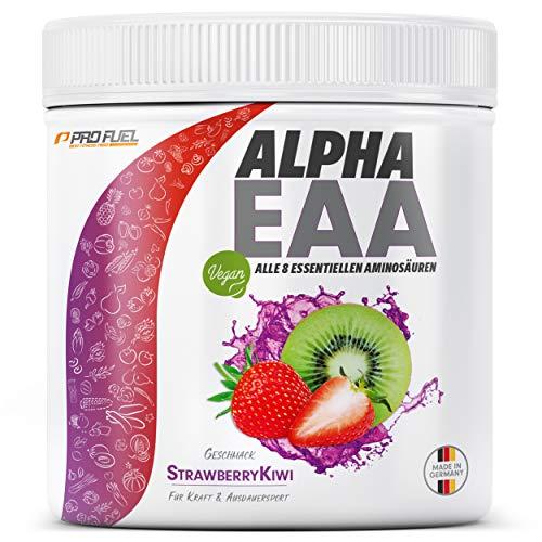ALPHA EAA Pulver 462g   Alle 8 essentiellen Aminosäuren   Vegan EAAs Aminosäuren Pulver   Amino Workout Drink   MADE IN GERMANY   Optimale Wertigkeit   Leckerer Geschmack (Erdbeere-Kiwi)