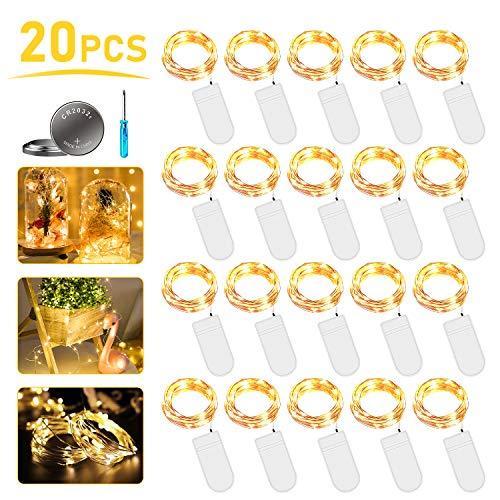 LED Lichterkette Batterie, 20 Stück 2M 20LED Micro Batterie-betrieben Kupfer Drahtlichterkette Warmweiß Weihnachtsbeleuchtung für Zimmer, Innen, Weihnachten, Außen, Party, Hochzeit, DIY.