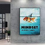 N / A Pintura sin Marco Los Animales de Escritura Mental sobre Lienzo Son Todos Tiburones inspiradores utilizados para la decoración del hogar ZGQ7503 40x50cm