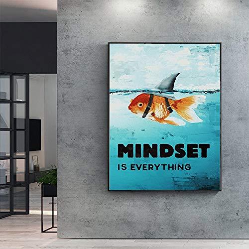 N / A Rahmenlose Malerei Mind Writing Tiere auf Leinwand sind Alles inspirierende Haie, die für die Heimdekoration verwendet Werden. ZGQ7504 50x62cm
