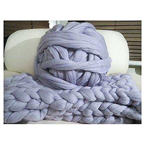 HomeModa Studio Non-Mulesed Chunky Wool Yarn Big Chunky Yarn Massive Yarn Extreme Arm Knitting Giant Chunky Knit Blankets Throws Grey White (0.5kg-1.1lbs, Grey)