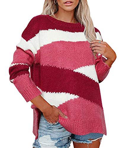 Jersey Rayas Punto Mujer Sueter Tejido Mujer Jerséis Mujeres Pullover Sweater Jerseys Largos Jumper Para Damas Suéter Señora Sueteres Tejidos Para Mujer Sueters Suéteres Señoras Talla Grande Rosa L
