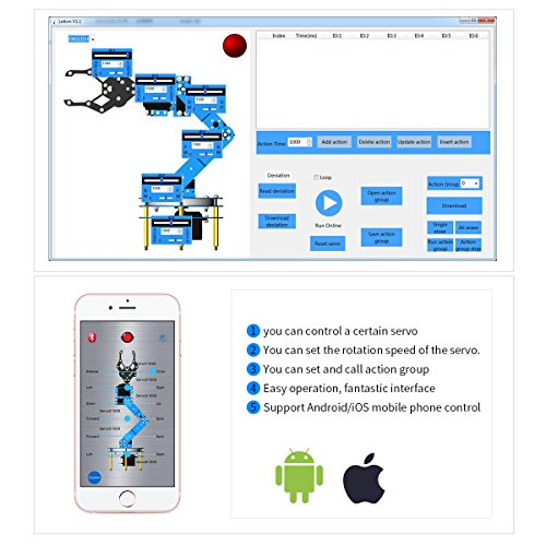 Robotic Arm Kit 6DOF Programming Robot Arm with Handle PC Software and APP Control with Tutorial